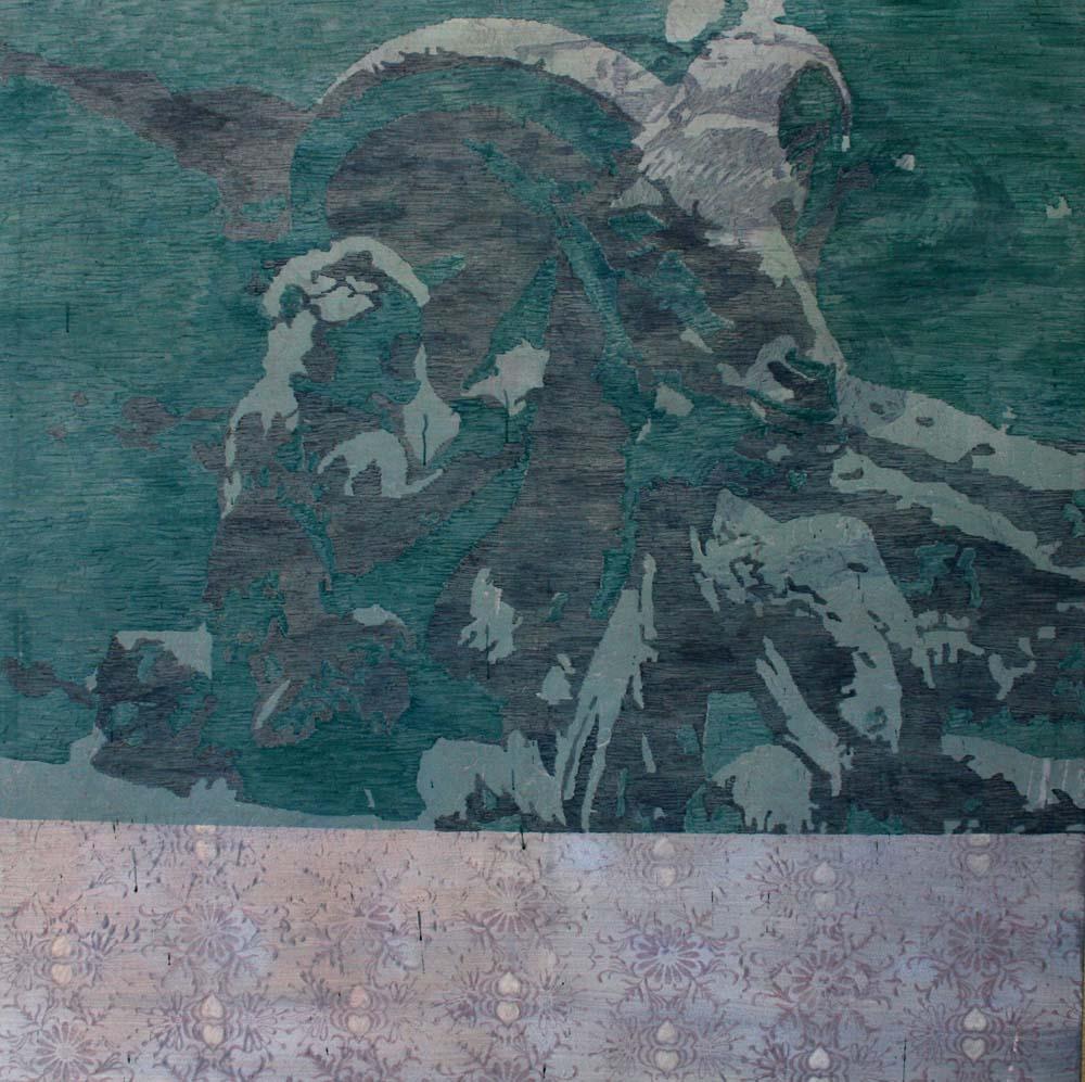 Affe mit Steinbock