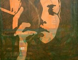 Selbstportrait mit Zigarette,2014, Eitempera/Molino,120x140cm